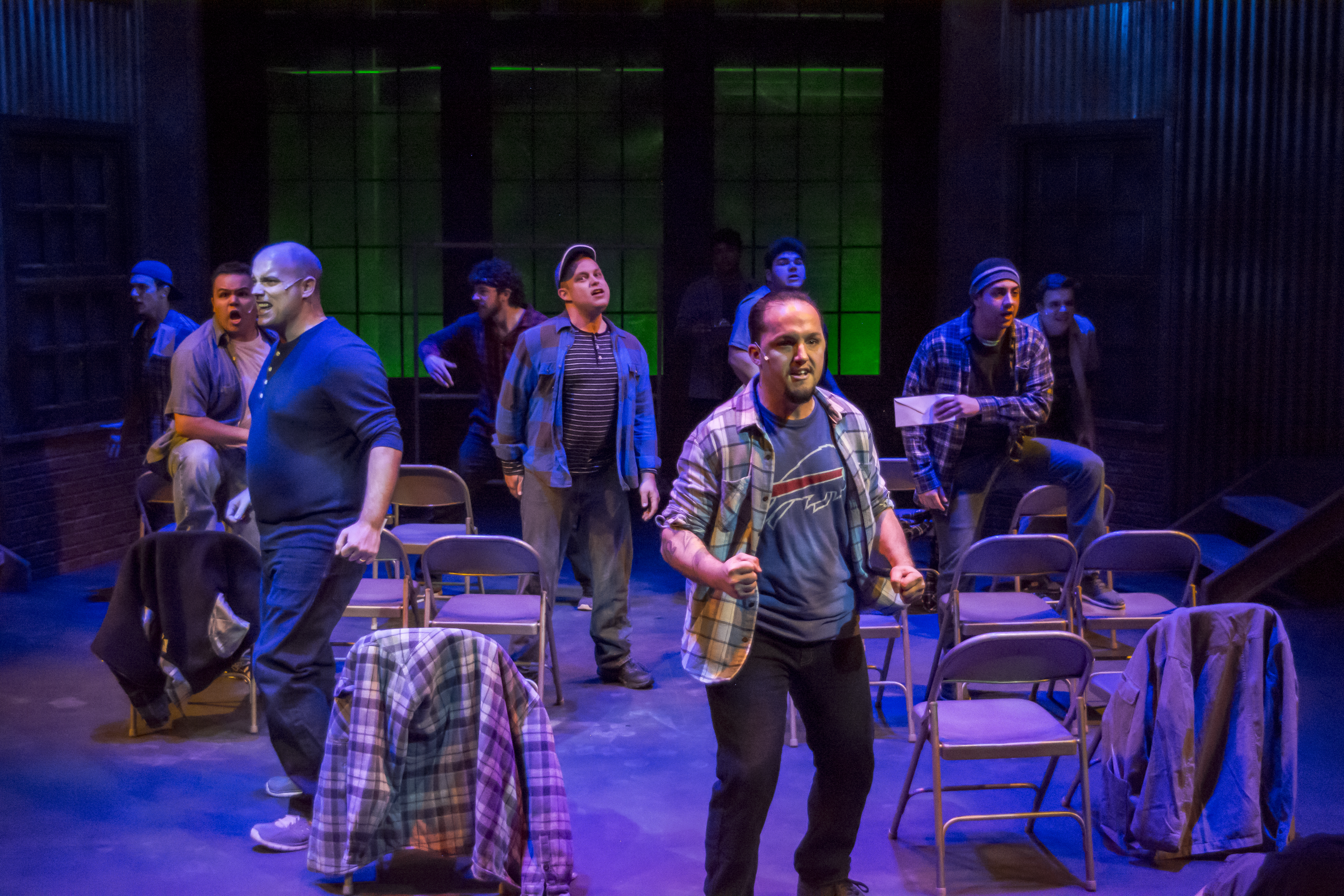 """Grim prospects: a scene from StageWorks Fresno's """"The Full Monty."""""""