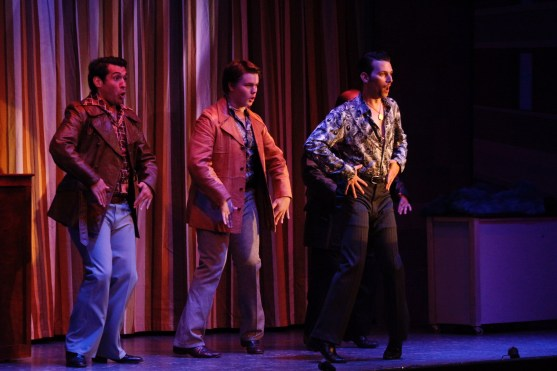 """Dancing thugs: Jesse McCoy and his henchmen in """"Sister Act."""" Photos / Good Company Players"""