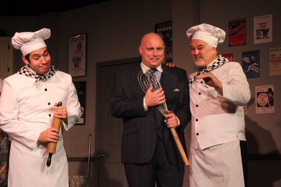 """Pastry chefs? Nicholas Nunez, left, Jeff Lusk and Greg Ruud in """"The Drowy Chaperone."""" Photos / Good Company Players"""