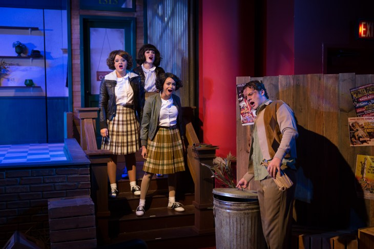 "Skid row: Mackenzie Stafford, left, Caitlin Lopez, Kindle Cowger and Will Bishop in ""Little Shop of Horrors."" Photo / StageWorks Fresno"