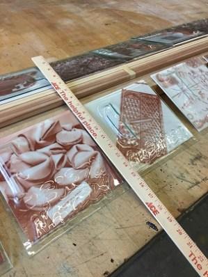 "Work in progress: Edward Gillum preparing for ""Alphabet of Meaning"" at Spectrum Art Gallery."