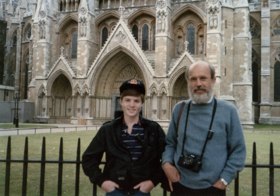 A photo from long ago of Nielsen and his son, Rob, visiting England.