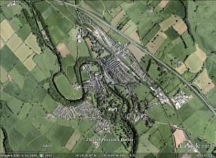 Appleby-in-Westmoreland, England aerial. From Google Earth.