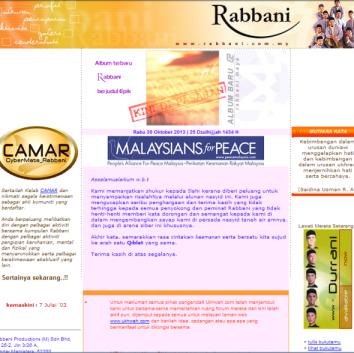 Website Rabbani pada tahun 2003