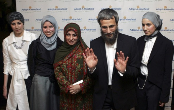 Yusuf, Fawzia (wife) and daughters at a charity event 'Adopt-A-Minefield' Benefit Gala in support of landmines victims on May 28, 2005 in Neuss, Germany. Source: Zimbio.com