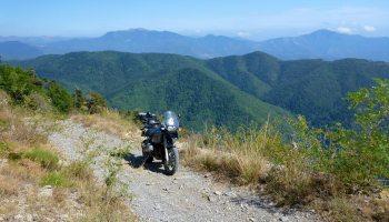 Alpine mountain track with bike on it