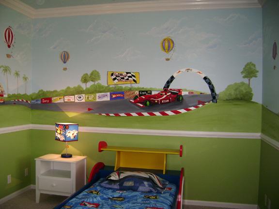 Race Car Children S Murals Raceway Grand Prix Mural