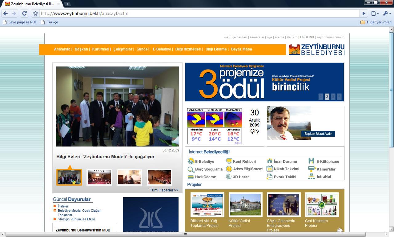 Zeytinburnu Belediyesi Web Sitesi Görüntüsü 30 Aralık 2009