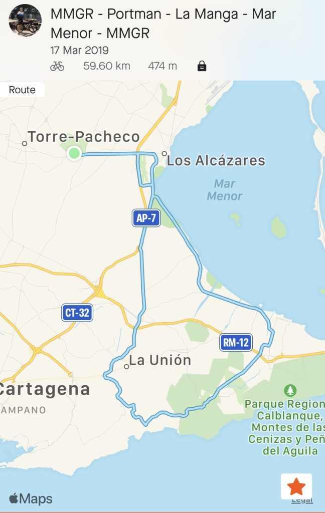 Murcia Bike Hire Guided Rides- Mar Menor Golf, Los Alcazares, La Manga, Portman, La Union - GPX Route Download