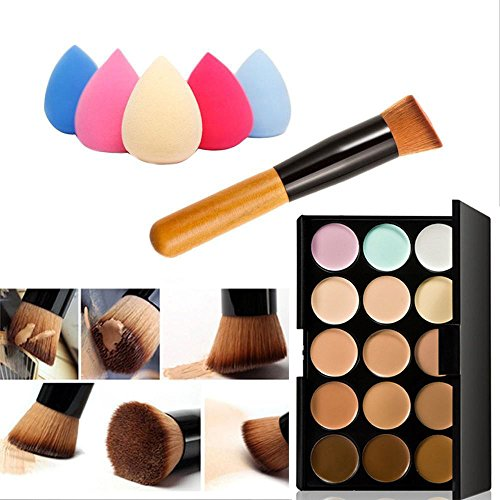 Mefeir 15 Colors Professional Concealer Camouflage Makeup Palette Contour  Face Contouring Kit + Oblique Head Contour Makeup Brush with Free Makeup