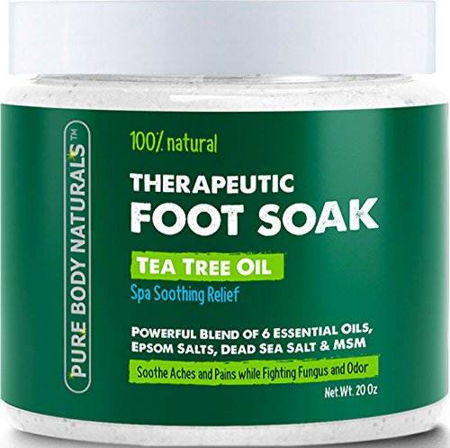 Foot Soak with Tea Tree Oil and Epsom Salt – 20 oz – Tea Tree Essential  Oils Foot Bath Fights Fungus & Bacteria, Soothes Aches & Pains & Helps  Soften