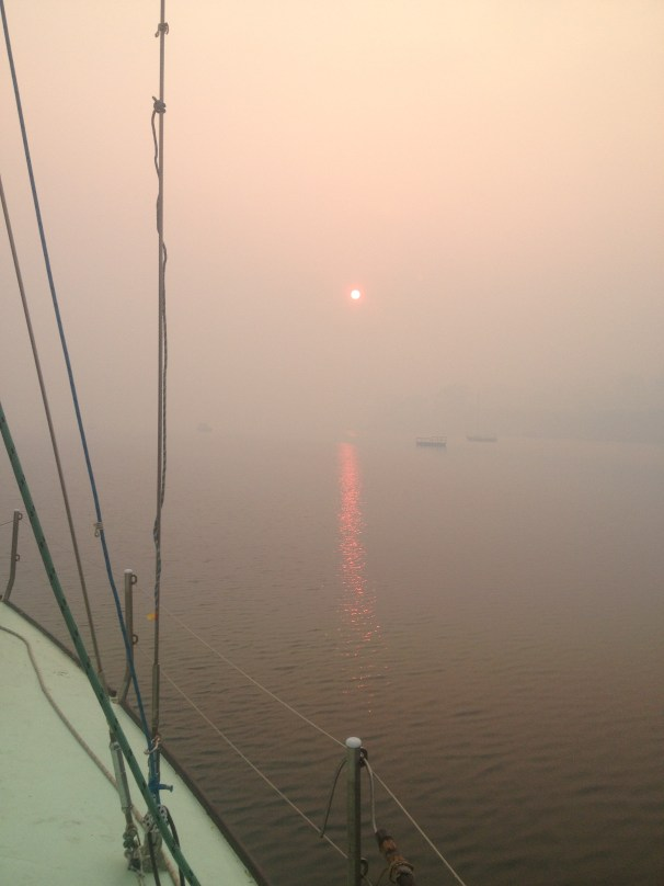 awaking to day 4, visibility deminishes as the wind settles and the smoke looms over King George Sound at sunrise.