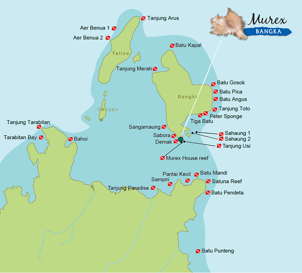 Dive map with sites at Bangka Island