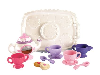 Teaching the baby to use the tea set