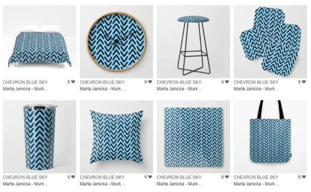 produkty we wzory niebieskie graficzne