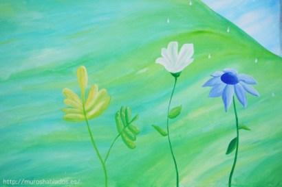 La flora siempre está presente en las ilustraciones de Nívola