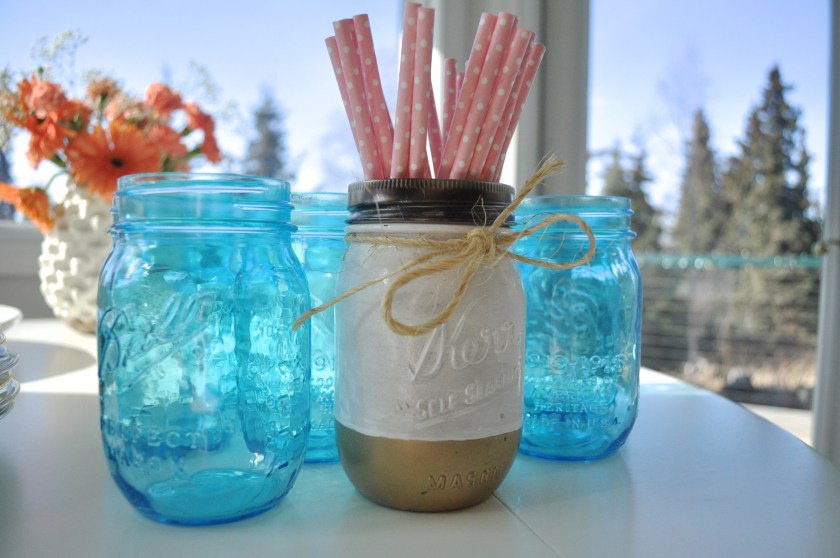 peach mint and navy wedding shower decorations, polka dot straws