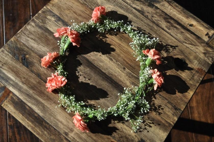 wedding shower flower garland, floral headpiece, flower crown