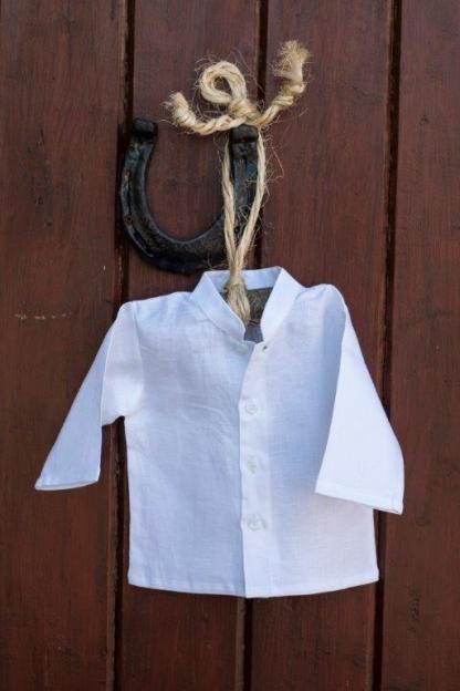 Irish Linen Christening Grandad Shirt