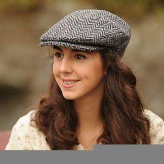 Ladies Herringbone Tweed Cap