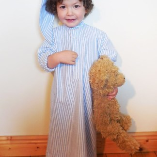Childrens Gleneske Stripe Irish Nightshirt and Cap Classic Blue