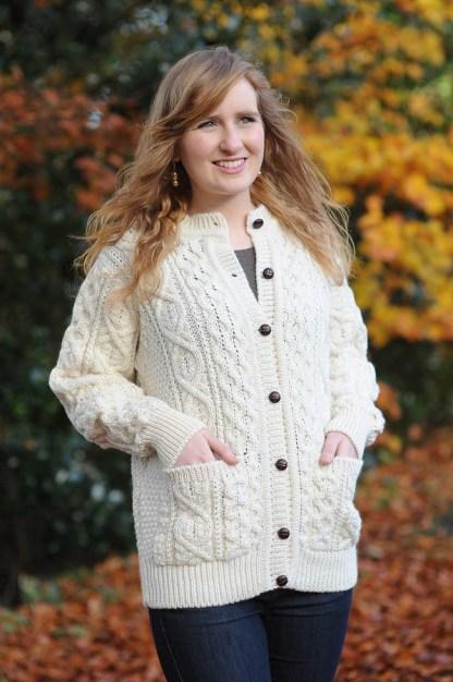 Glenveagh Aran Ladies Cardigan Natural