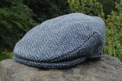 Herringbone Tweed Cap Blue Grey