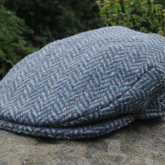 Herringbone Tweed Cap Blue Grey