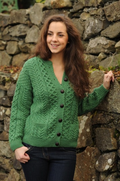 Liffey Aran Ladies Cardigan Kiwi