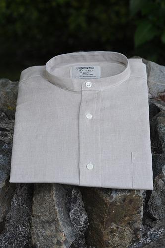 Irish Linen Sunday Shirt (Collarless) Oatmeal