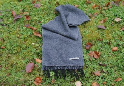 Charcoal Herringbone Tweed Scarf