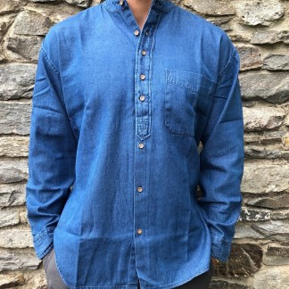 Denim Chambray Grandfather Shirt