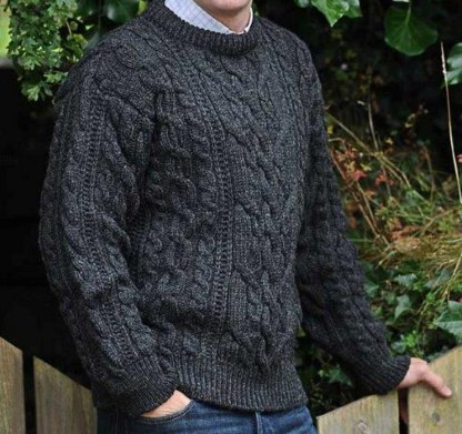 Definitive Aran Sweater Cable Stitch Charcoal