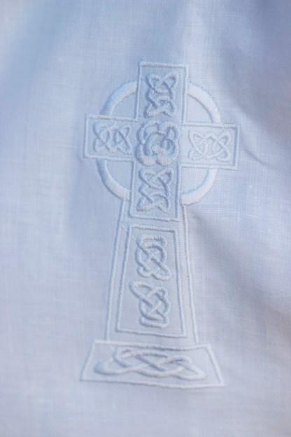 Celtic Cross Short Sleeve Christening Gown detail