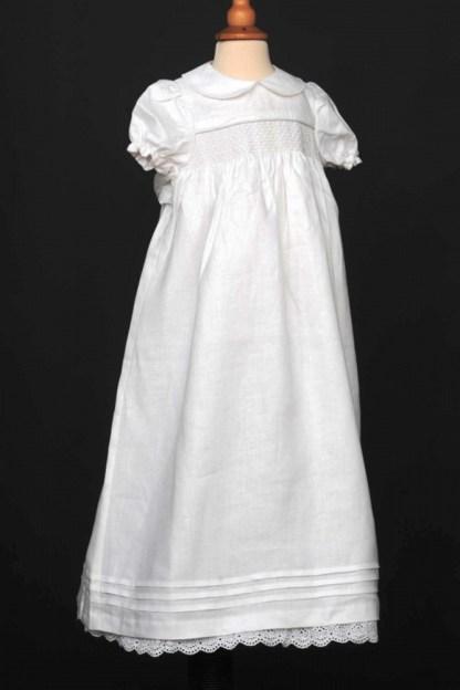 Classic Irish Linen Christening Robe