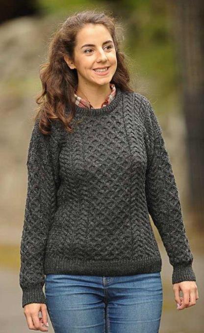 Classic Ladies Aran Sweater Charcoal Grey