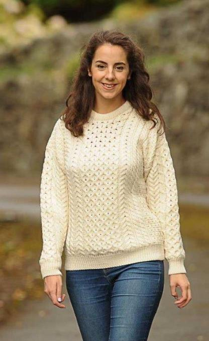 Classic Ladies Aran Sweater Natural