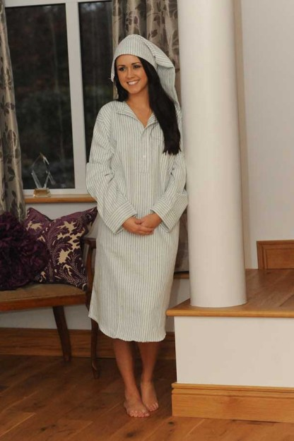 Gleneske Traditional Stripe Ladies Nightshirt Classic Blue 2395