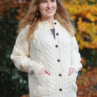 Glenveigh Ladies Aran Cardigan 1300 Natural