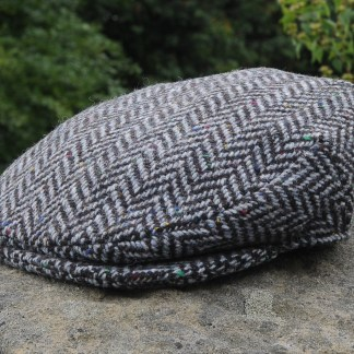 Herringbone Tweed Flat Cap Charcoal Silver