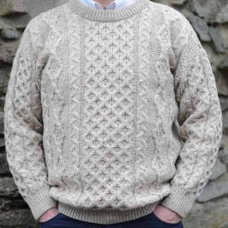 Legacy Irish Aran Sweater Sandstone Fleck