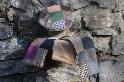 Patchwork Tweed Scarf & Cap Set