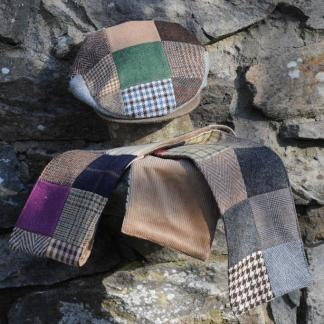 Patchwork Tweed Scarf & Cap Set