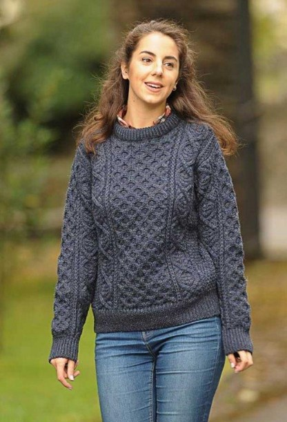 Definitive Aran Ladies Sweater Honeycomb Indigo 1494