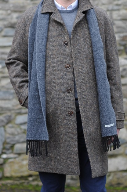 Dublin Herringbone Donegal Tweed Overcoat Bracken
