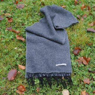 Charcoal Herringbone Tweed Scarf