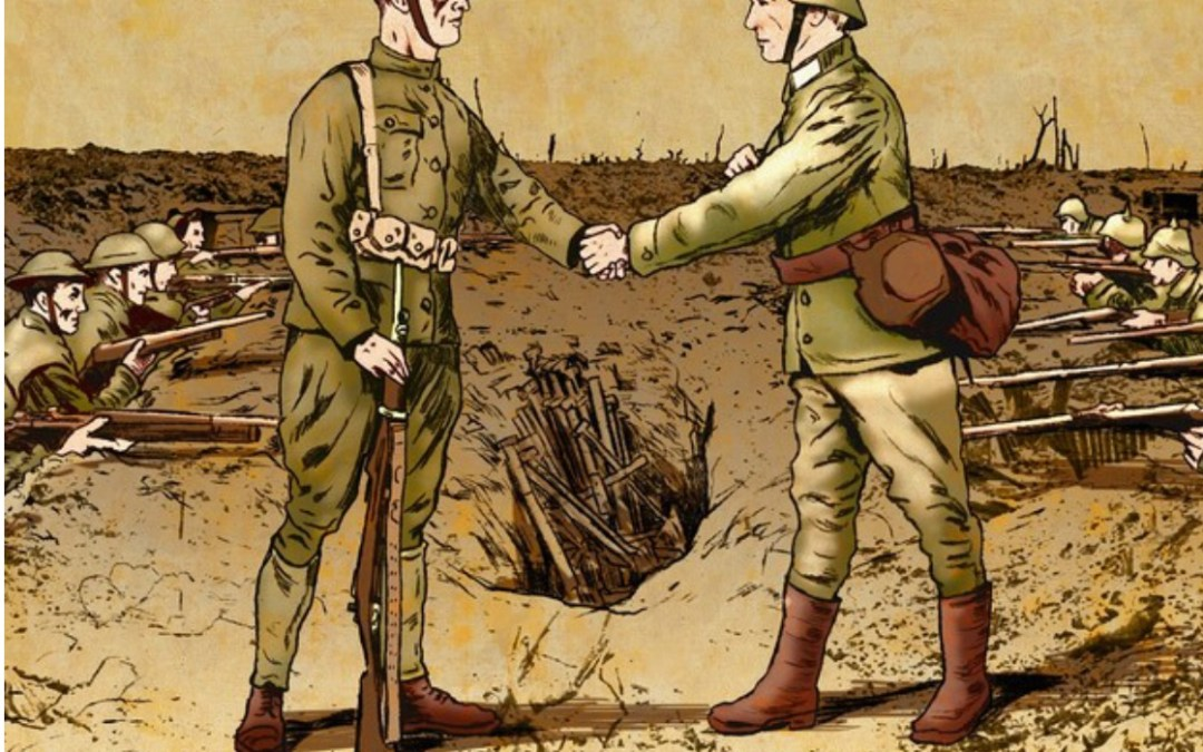 1914 Great War Christmas Peace Truce, in the trenches of Ypres, Belgium