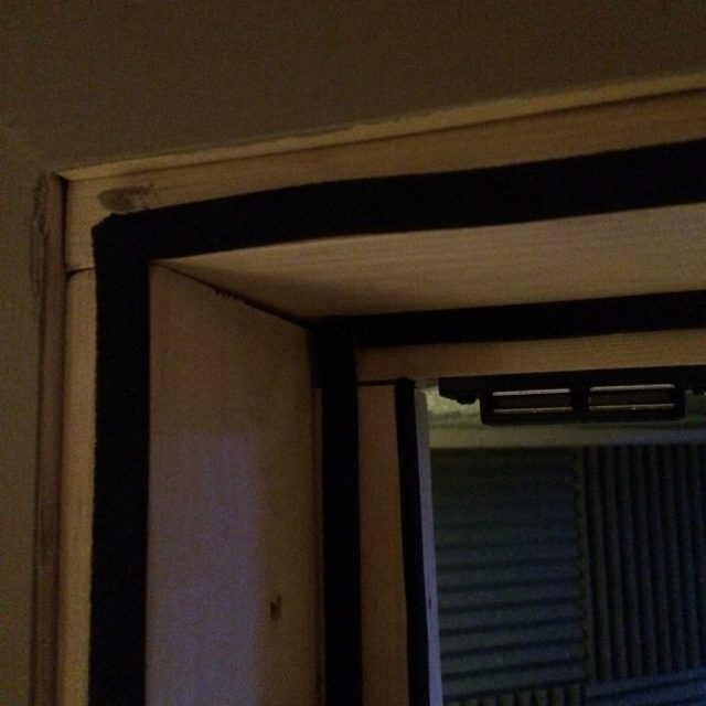 Close-up of the vocal booth door casing