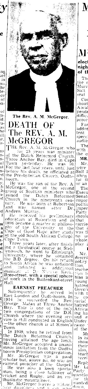 Report of the death of Rev Andrew McGregor (Jnr) in the Cape Times, 21 September 1943