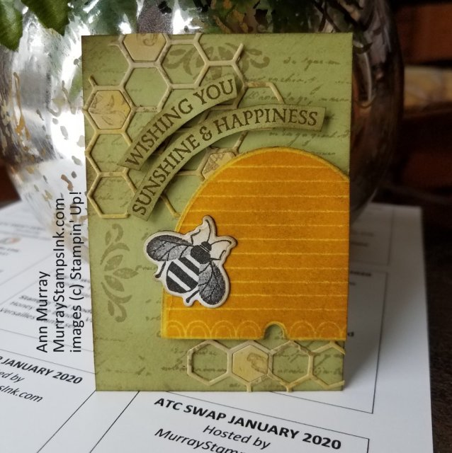 Artist Trading Card using Honey Bee Bundle in Vintage style